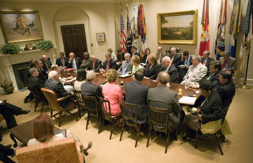 President George W. Bush discusses the War on Terror and Iraq with members of Congress in the Roosevelt Room at 3:35 p.m. Wednesday, June 7, 2006. White House photo by Eric Draper