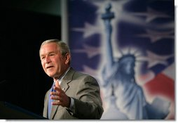President George W. Bush delivers remarks on comprehensive immigration reform at Metropolitan Community College – South Omaha Campus in Omaha, Nebraska, Wednesday, June 7, 2006. White House photo by Eric Draper