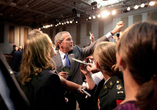 President George W. Bush greets audience members after delivering remarks on comprehensive immigration reform at Metropolitan Community College – South Omaha Campus in Omaha, Nebraska, Wednesday, June 7, 2006. White House photo by Eric Draper