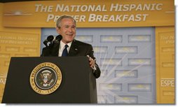President George W. Bush delivers his remarks Thursday morning, June 8, 2006 at the National Hispanic Prayer Breakfast in Washington. White House photo by Kimberlee Hewitt