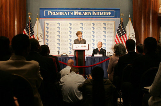 Mrs. Laura Bush delivers remarks on the President's $1.2 billion Global Malaria Initiative, first introduced by President George W. Bush in June 2005 to combat malaria in 15 of the hardest-hit African nations, to an audience Thursday, June 8, 2006 at the National Press Club in Washington. Mrs. Bush highlighted the work of the Corporate Alliance on Malaria in Africa, and announced an anti-malaria initiative in Malawi, Mozambique, Rwanda and Senegal. White House photo by Shealah Craighead
