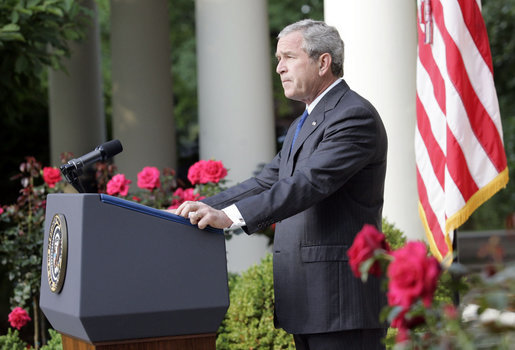 "President George W. Bush delivers a statement regarding the death of terrorist al Zarqawi, an al Qaeda leader in Iraq, in the Rose Garden Thursday, June 8, 2006. ""Through his every action, he sought to defeat America and our coalition partners, and turn Iraq into a safe haven from which al Qaeda could wage its war on free nations,"" said the President. ""To achieve these ends, he worked to divide Iraqis and incite civil war."" White House photo by Eric Draper"