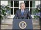 "President George W. Bush delivers a statement regarding the death of terrorist al Zarqawi, an al Qaeda leader in Iraq, in the Rose Garden Thursday, June 8, 2006. ""Last night in Iraq, United States military forces killed the terrorist al Zarqawi,"" said the President. ""At 6:15 p.m. Baghdad time, special operation forces, acting on tips and intelligence from Iraqis, confirmed Zarqawi's location, and delivered justice to the most wanted terrorist in Iraq."" White House photo by Kimberlee Hewitt"
