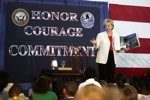 "Mrs. Lynne Cheney reads from her book ""When Washington Crossed the Delaware,"" Saturday, June 10, 2006, to the families and crew aboard the aircraft carrier USS George Washington docked at Norfolk Naval Station in Norfolk, Virginia. White House photo by David Bohrer"
