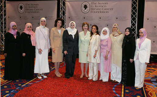 Mrs. Laura Bush joins Nancy Brinker, founder of the Susan G. Komen Breast Cancer Foundation, fourth from left, and women from Saudi Arabia and the United Arab Emirates, Monday, June 12, 2006, at the Susan G. Komen Breast Cancer Foundation's 2006 Mission Conference in Washington, D.C. Mrs. Bush announced the U.S.-Middle East Partnership for Breast Cancer Awareness and Research which allows governments, hospitals, researchers, and survivors to work with each other to help defeat breast cancer. White House photo by Shealah Craighead