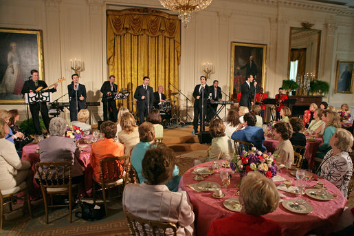 Members of the cast from the Tony award-winning musical Jersey Boys perform during a luncheon for Senate Spouses hosted by Mrs. Laura Bush in the East Room Monday, June 12, 2006. White House photo by Shealah Craighead