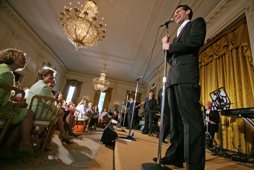 "Members of the cast from the Tony award-winning musical ""Jersey Boys"" perform during a luncheon for Senate Spouses hosted by Mrs. Laura Bush in the East Room Monday, June 12, 2006. White House photo by Shealah Craighead"