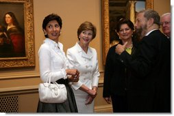 Mrs. Laura Bush and Mrs. Leila Castellaneta, wife of the Italian ambassador, preview the exhibition Bellini, Giorgione, Titian, and the Renaissance of Venetian Painting with at the National Gallery of Art Tuesday, June 14, 2006. The exhibition opens June 18 and runs through September 17, 2006. White House photo by Shealah Craighead