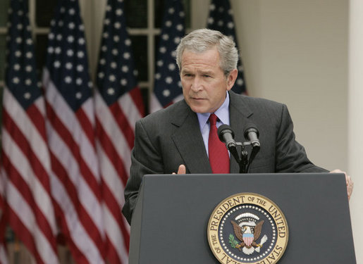 President George W. Bush answers a reporter's question Wednesday morning, June 14, 2006, during a news conference in the Rose Garden, following his trip to Iraq where he met with members of the Iraq government and U.S. troops. White House photo by Paul Morse