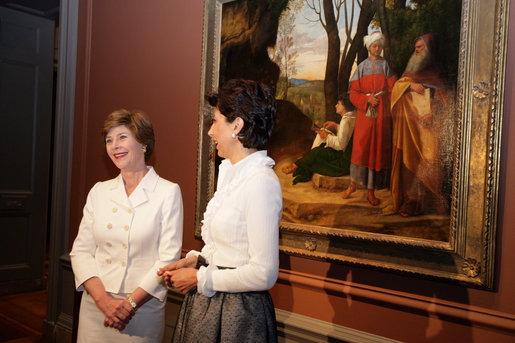 Mrs. Laura Bush and Mrs. Leila Castellaneta, wife of the Italian ambassador, speak to the press during their preview tour of the upcoming exhibition Bellini, Giorgione, Titian, and the Renaissance of Venetian Painting at the National Gallery of Art Tuesday, June 14, 2006. The exhibition opens June 18 and runs through September 17, 2006. White House photo by Shealah Craighead
