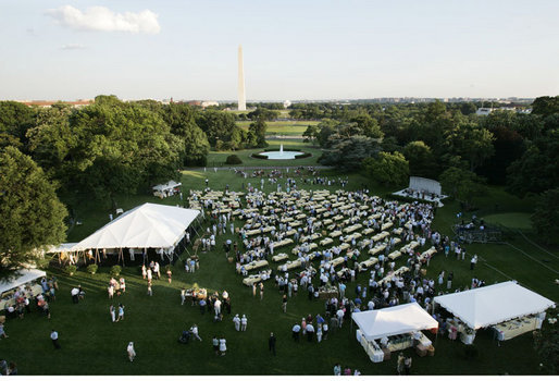 The South Lawn of the White House is a festive picnic scene for the Congressional Picnic Wednesday evening, June 15, 2006, an annual tradition started by former President Ronald Reagan for members of Congress and their families. White House photo by Paul Morse