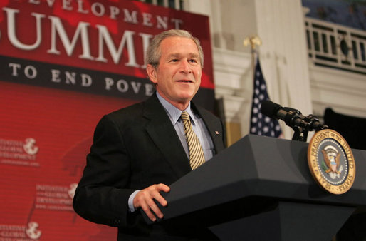 "President George W. Bush addresses the Initiative for Global Development's 2006 National Summit in Washington, D.C., Thursday, June 15, 2006. A partnership between business and civic leaders, the initiative works to reduce global poverty. ""The facts are these: Across the globe, more than a billion people live on less than a dollar a day. That should be a troubling statistic to all Americans,"" said the President. ""They lead lives of hunger, they lead lives of desperation. Every day is a struggle just to survive. That struggle ought to inspire us here in America. It's inspired you. It ought to inspire all our citizens."" White House photo by Kimberlee Hewitt"
