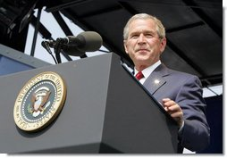 "President George W. Bush delivers the commencement address during the graduation ceremony at the United States Merchant Marine Academy at Kings Point, New York, Monday, June 19, 2006. ""In times of peace, the Merchant Marine helps ensure our economic security by keeping the oceans open to trade,"" said the President. ""In times of war, the Merchant Marine is the lifeline of our troops overseas, carrying critical supplies, equipment, and personnel.""  White House photo by Kimberlee Hewitt"