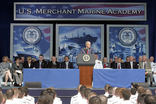 "President George W. Bush delivers the commencement address during the graduation ceremony at the United States Merchant Marine Academy at Kings Point, New York, Monday, June 19, 2006. ""America has invested in you, and she has high expectations,"" said President Bush. ""My call to you is this: Trust your instincts, and use the skills you were taught here to give back to your nation. Do not be afraid of mistakes; learn from them. Show leadership and character in whatever you do. The world lies before you. I ask you to go forth with faith in America, and confidence in the eternal promise of liberty."" White House photo by Kimberlee Hewitt"