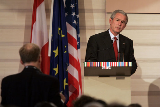 President George W. Bush listens as he receives a question from the media during a press availability Wednesday, June 21, 2006, during the U.S.-EU Summit in Vienna. White House photo by Paul Morse