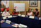 Mrs. Laura Bush participates in a roundtable discussion with members of Women Without Borders, a Vienna-based human rights organization, Wednesday, June 21, 2006 in Vienna, Austria. Seen with Mrs. Bush are, from left to right, Astha Kapoor, Georgina Nitische and Elizabeth Kasbauer. White House photo by Shealah Craighead