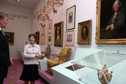Mrs. Laura Bush is given a tour of the Albertina Museum in Vienna, Austria, Wednesday, June 21, 2006, by Dr. Klaus Schroeder, director of the museum. White House photo by Shealah Craighead