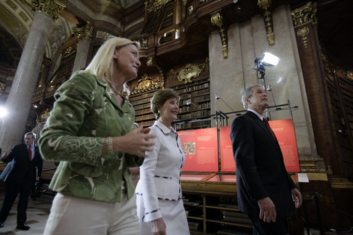 President George W. Bush and Laura Bush are led by Johanna Rachinger, Director General of the National Library in Vienna, after they arrived for a tour Wednesday, June 21, 2006, and a roundtable with foreign students. White House photo by Eric Draper