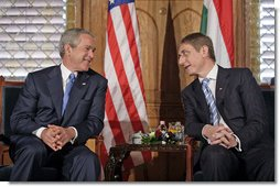 President George W. Bush meets with Hungarian Prime Minister Ferenc Gyurcsany at the Hungarian Parliament building in Budapest, Hungary, June 22, 2006.  White House photo by Eric Draper