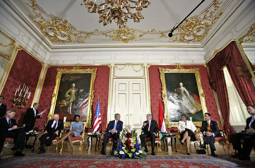 President George W. Bush meets with Hungarian President Laszlo Solyom at Sandor Palace in Budapest, Hungary, Thursday, June 22, 2006. Also pictured, from left, are: U.S. Ambassador George Walker; Secretary of State Condoleezza Rice; Hungarian Minister of Foreign Affairs Kinga Goncz; and Hungarian Ambassador Andras Simonyi. White House photo by Eric Draper