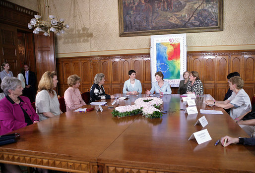 Mrs. Laura Bush and Dr. Klara Dobrev, wife of Hungarian Prime Minister Ferenc Gyurcsanys, participate in a roundtable discussion about breast cancer awareness in Budapest, Hungary, Thursday, June 22, 2006. White House photo by Shealah Craighead