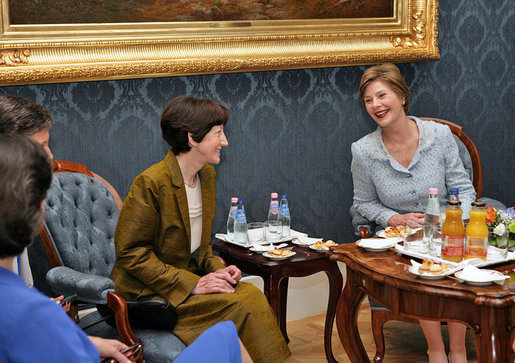 Mrs. Laura Bush attends a tea hosted by Hungarian First Lady Erzsebet Solyom at Sandor Palace in Budapest, Hungary, Thursday, June 22, 2006. White House photo by Shealah Craighead