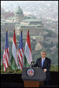 President George W. Bush speaks from Gellert Hill in Budapest, Hungary, Thursday, June 22, 2006.