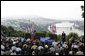"President George W. Bush speaks from Gellert Hill in Budapest, Hungary, Thursday, June 22, 2006. ""From this spot you could see tens of thousands of students and workers and other Hungarians marching through the streets,"" said President Bush in his remarks about the 1956 Hungarian uprising. ""They called for an end to dictatorship, to censorship, and to the secret police. They called for free elections, a free press, and the release of political prisoners. These Hungarian patriots tore down the statue of Josef Stalin, and defied an empire to proclaim their liberty."" White House photo by Paul Morse"
