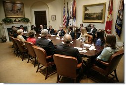 President George W. Bush meets with organizations that support the U.S. military in Iraq and Afghanistan in the Roosevelt Room Monday, June 26, 2006. White House photo by Eric Draper