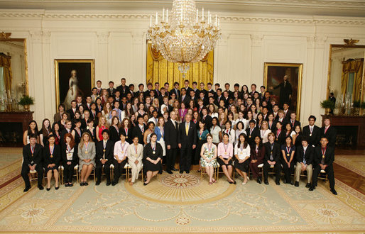 President George W. Bush meets with the 2006 Presidential Scholars in the East Room Monday, June 26, 2006. Established in 1964, the program recognizes up to 141 distinguished graduating high school seniors. White House photo by Paul Morse