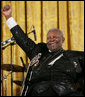 Legendary Blues guitarist B.B. King gestures at the end of his performance in the East Room of the White House Monday, June 26, 2006, as part of the Black Music Month celebration focusing on the music of the Gulf Coast: Blues, Jazz and Soul. White House photo by Eric Draper