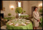 "Mrs. Laura Bush discusses the motifs and entertainment for the official dinner honoring His Excellency Junichiro Koizumi, Prime Minister of Japan, in the State Dining Room during a media preview Thursday, June 29, 2006. ""I think it's going to be a very fun evening,"" said Mrs. Bush. ""Our orchestra is the Brian Setzer Orchestra. He'll play a lot of both the President's and Prime Minister Koizumi's favorites, and he's especially known for his guitar. So I think that will be terrific."" White House photo by Shealah Craighead"