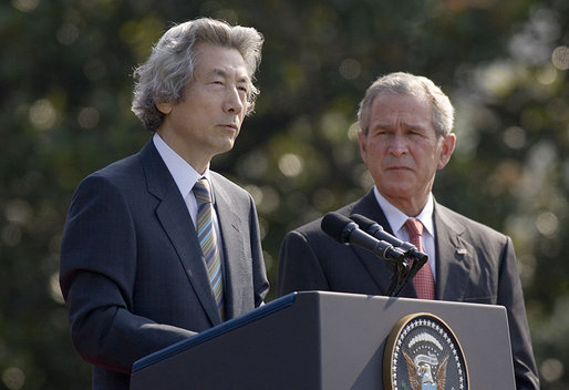 "Prime Minister Junichiro Koizumi of Japan speaks during the arrival ceremony on the South Lawn Thursday, June 29, 2006. ""I sincerely hope that my visit this time will enable our two countries to continue to cooperate and double-up together, and as allies in the international community make even greater contributions to the numerous challenges in the world community,"" White House photo by Paul Morse"