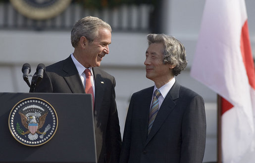 """The friendship between our two nations is based on common values,"" said President Bush in his remarks during the official arrival ceremony for Prime Minister Junichiro Koizumi of Japan Thursday, June 29, 2006. ""These values include democracy, free enterprise, and a deep and abiding respect for human rights."" White House photo by Paul Morse"