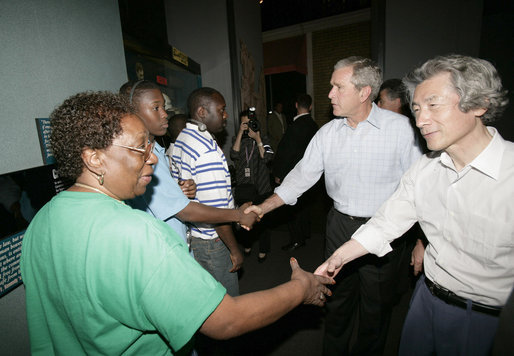 President George W. Bush and Prime Minister Junichiro Koizumi meet visitors to the National Civil Rights Museum during an unscheduled stop Friday, June 30, 2006, while in Memphis for a tour of Graceland. White House photo by Eric Draper
