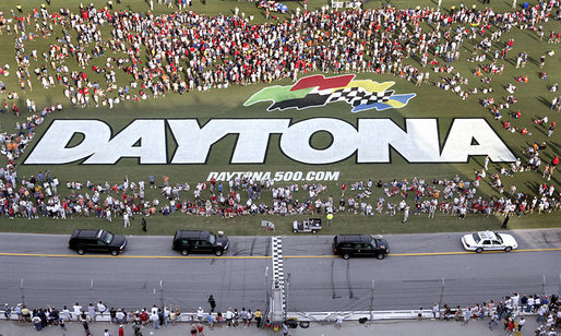 The motorcade of Vice President Dick Cheney takes a lap around the Daytona International Speedway in Daytona, Fla., Saturday, July 1, 2006, before the start of the 2006 Pepsi 400 NASCAR race. White House photo by Paul Morse