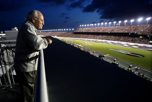 Vice President Dick Cheney watches the 2006 Pepsi 400 NASCAR race Saturday, July 1, 2006, from the infield at Daytona International Speedway in Daytona, Fla. White House photo by David Bohrer