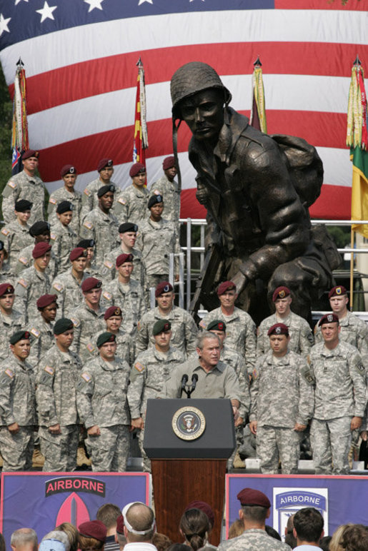 President George W. Bush addresses his remarks to U.S. troops and their family members Tuesday, July 4, 2006, during an Independence Day celebration at Fort Bragg in North Carolina. President Bush thanked the troops and their families for their service to the nation. White House photo by Paul Morse