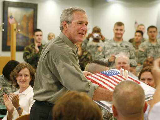 President Bush Thanks Military On Independence Day At Fort