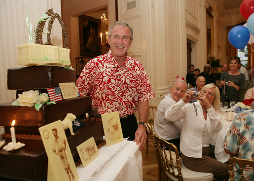 President George W Bush Is Presented With A Birthday Cake