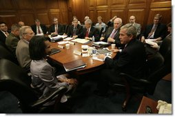 President George W. Bush meets with the National Security Council Wednesday, July 5, 2006.