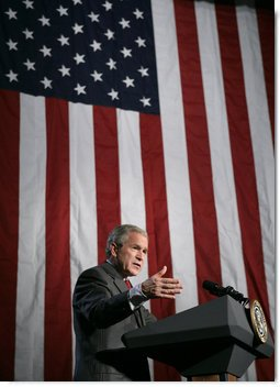 President George W. Bush addresses a news conference at the Museum of Science and Industry in Chicago, Friday, July 7, 2006, speaking on the economy, immigration reform and security issues. White House photo by Eric Draper