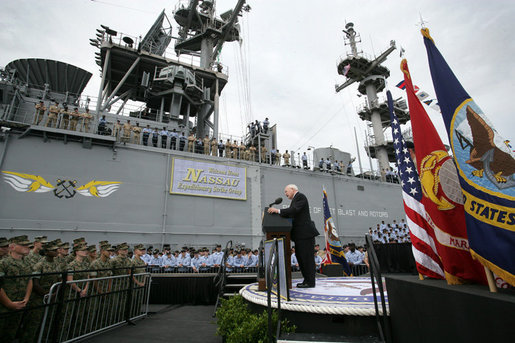 "Vice President Dick Cheney delivers remarks to sailors and Marines, Friday, July 7, 2006, aboard the Amphibious Assault ship USS Wasp docked at the Norfolk Naval Station in Norfolk, Va. ""All around us today are the signs of American sea power- a fleet like none that has ever sailed before, a Navy and Marine Corps that uphold noble traditions, and a flag that stands for freedom, for human rights, and for stability in a turbulent world,"" said Vice President Cheney. White House photo by David Bohrer"