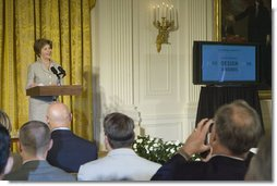 Laura Bush hosts the announcement of the Smithsonian's Cooper-Hewitt National Design Awards for 2005 and 2006 in the East Room Monday, July 10, 2006. The awards recognize achievements in areas such as architecture, communications and landscape design. White House photo by Kimberlee Hewitt