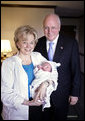 Today Vice President Dick Cheney and his wife Mrs. Lynne Cheney welcomed their fifth grandchild, Richard Jonathan Perry. He weighed 7 pounds, 4 ounces and was born at 11:19 a.m. at Sibley Memorial Hospital in Washington, D.C., July 11, 2006. His parents are Liz Cheney and Phil Perry, the daughter and son-in-law of the Cheneys. White House photo by David Bohrer