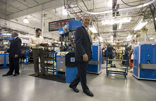 "President George W. Bush visits the Allen-Edmonds Shoe Corporation in Port Washington, Wis., Tuesday, July 11, 2006. ""This is a company that has benefited because of the tax cuts,"" said President Bush. ""It's a sub-chapter s company. You've often heard me talk about cutting taxes on individuals benefits small businesses. This is a company that had benefited from the tax cuts. It's also a company that made additional investments because of the tax relief we passed."" White House photo by Kimberlee Hewitt"