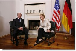 President George W. Bush meets one-on-one with German Chancellor Angela Merkel in Stralsund, Germany, Thursday, July 13, 2006. White House photo by Eric Draper