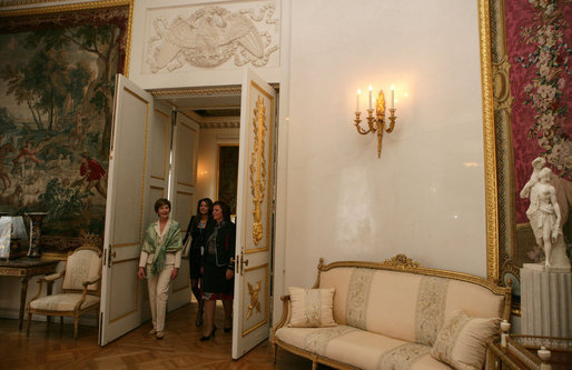 Mrs. Laura Bush and Mrs. Lyudmila Putina tour the Pavlovsk Palace in St. Petersburg, Russia, Saturday, July 15, 2006. White House photo by Shealah Craighead
