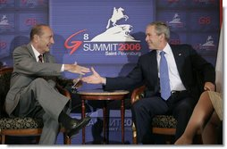 "President George W. Bush meets with President Jacques Chirac of France in a bilateral meeting during the G8 Summit in Strelna, Russia, Sunday, July 16, 2006. ""Now, I entirely agree with the American President in what he said about supporting the U.N. mission, which is designed, among other things, to ensure the release of the Israeli soldiers being detained right now both by Hezbollah and by Hamas, and put an end to the firing of Kassam rockets,"" said President Chirac to the press. White House photo by Eric Draper"