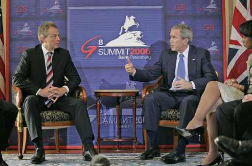 "President George W. Bush and Prime Minister Tony Blair of the United Kingdom meet one-on-one during the G8 Summit in Strelna, Russia, Sunday, July 16, 2006. ""We just had a wide-ranging discussion: we talked about the Middle East, we talked about Iraq, we talked about Iran,"" said President Bush to the press. ""I was pleased to inform and thank Tony for the good work in the United Nations on a unanimous resolution regarding North Korea."" White House photo by Eric Draper"